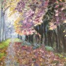 "Oil Painting—Purple Street—Fine Art Oil Painting On Canvas- Size: 16"" x  20"" (40 cm x 50 cm)"