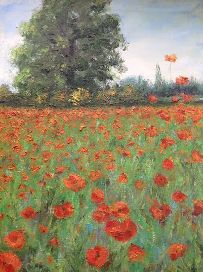 "Oil Painting�Poppies�Fine Art Oil Painting-Size: 16"" x  12""(40 cm x 30 cm)"
