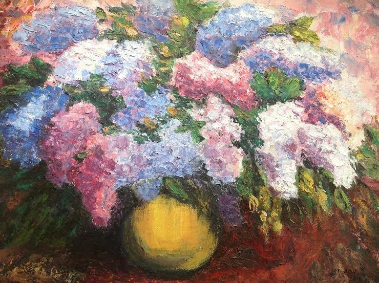"Oil Painting �Syringas�Fine Art Oil Painting-Size: 12"" x  16""(30 cm x 40 cm)"