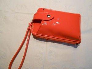 Buxton wristlet vinyl coral zip  around cell wallet
