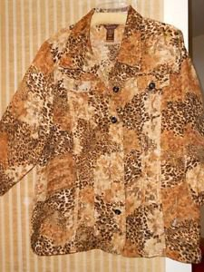 Woman's Perfect MULTIPLES Polyester Plaid Jacket, Size 2X Animal print