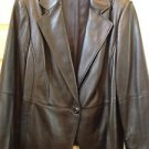 Jacket Blazer Ellen Tracy Black Genuine Leather size 20