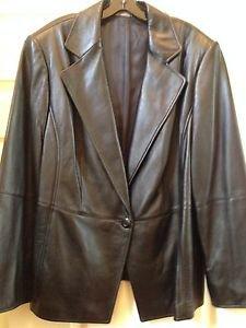 Jacket Blazer Ellen Tracy Black Genuine Leather size 20