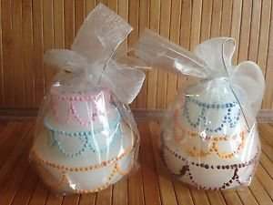 "Set of 2 candles in cake shape ""Happy Birthday"" note on top new"