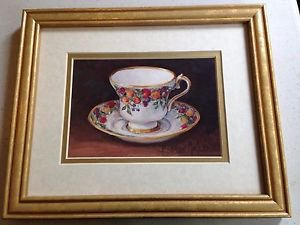 Set of 3 Barbara Mock  Teacup Framed Print - Vintage
