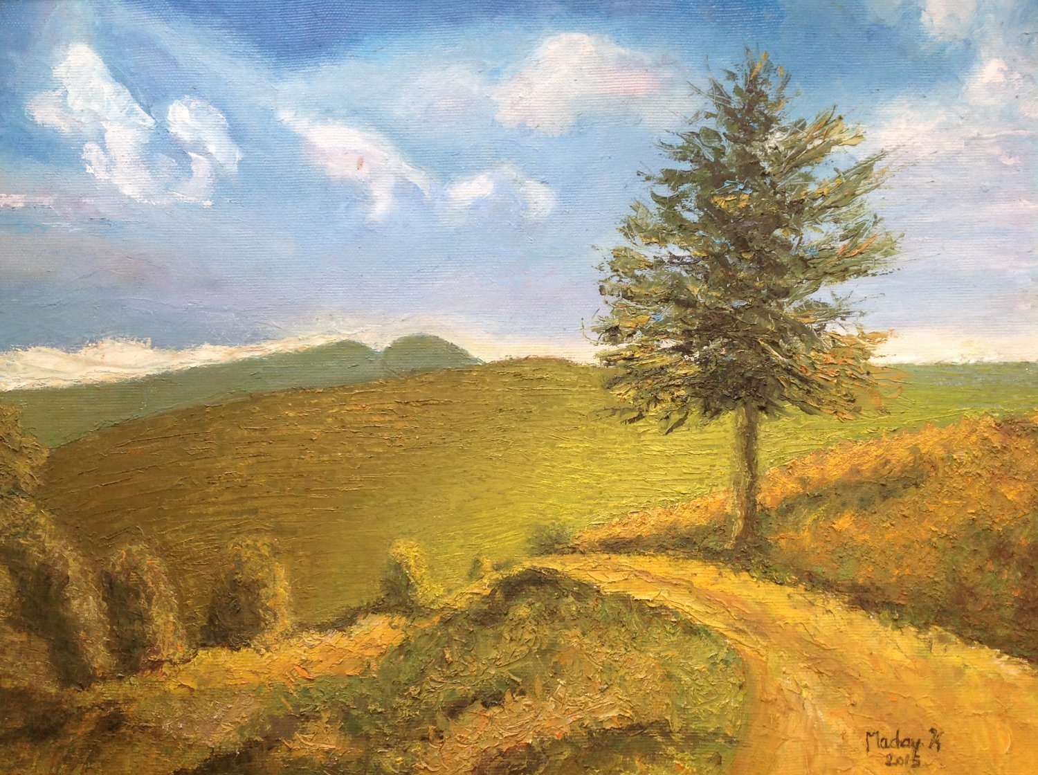 "Oil Painting�Gold Valley�Fine Art Oil Painting On Canvas- Size: 14"" x  20"" (35 cm x 50 cm)"