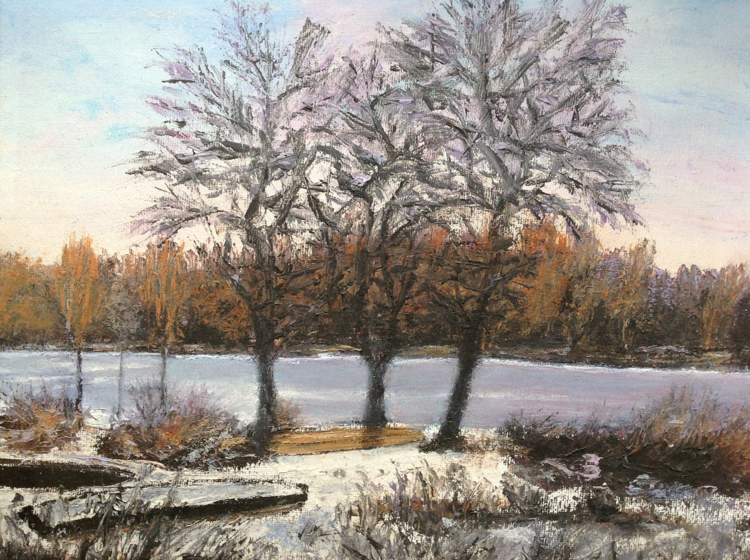 """Oil Painting�Late Fall�Fine Art Oil Painting-Size: 12"""" x  16""""(30 cm x 40 cm)"""