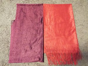 pair of two Turkish lace shawls purple and red