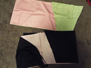 pair or she complete silk shawls pink green black