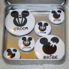Mickey & Minnie Bride & Groom Foil Magnet Set