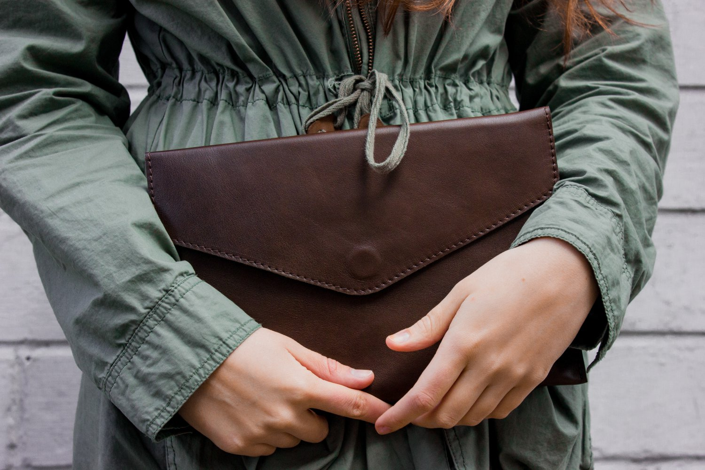 Cognac tablet wallet Leather tablet case