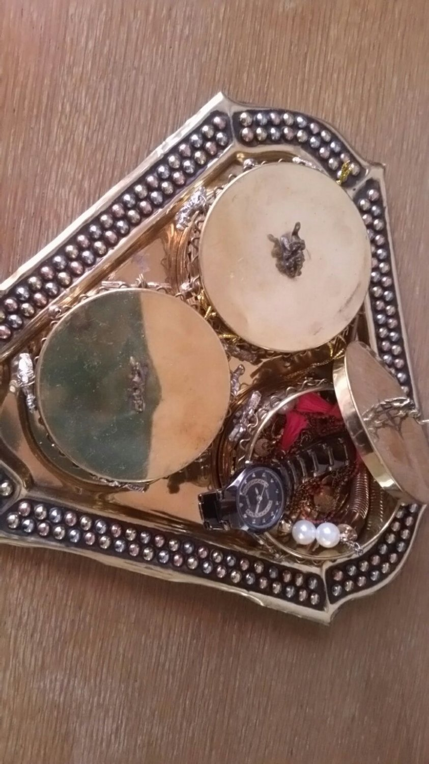 Brass jewelry box / 3 small boxes in a brass tray / new