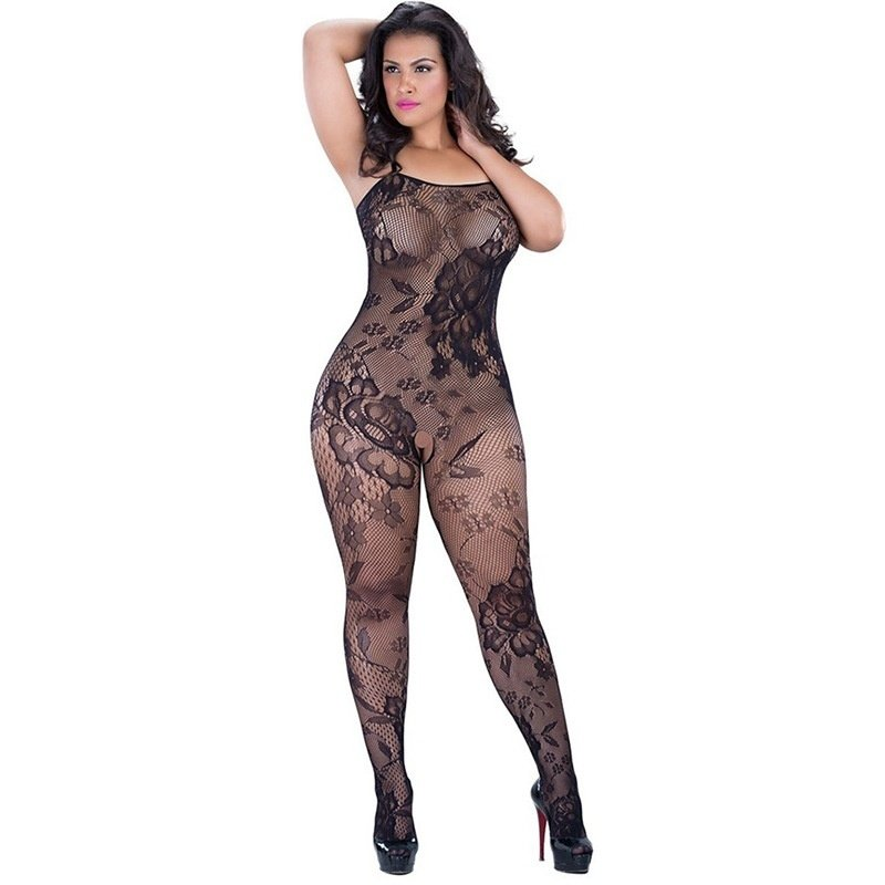 #H3138 Women's sexy lingerie jacquard mesh transparent crotchless fishnets body stocking