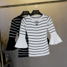 Women's fashion Knitted O-neck flared half sleeve stretch stripes t-shirt tops #0520