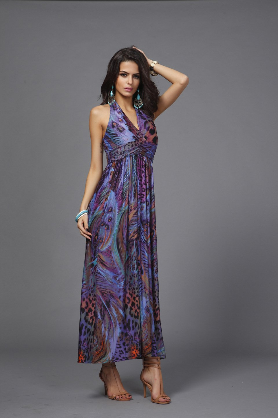 Purple Women's summer clothing beachwear halter-neck backless Bohemia peacock flower maxi dresses