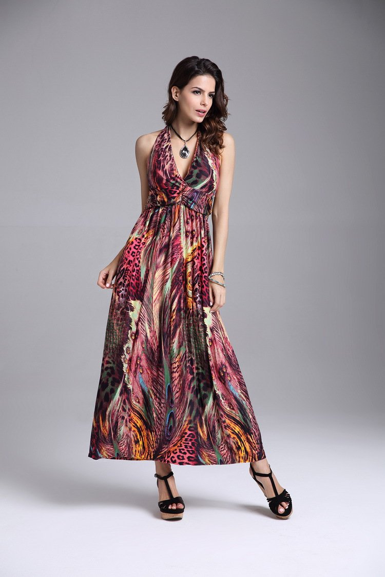 Orange Women's summer clothing beachwear halter-neck backless Bohemia peacock flower maxi dresses
