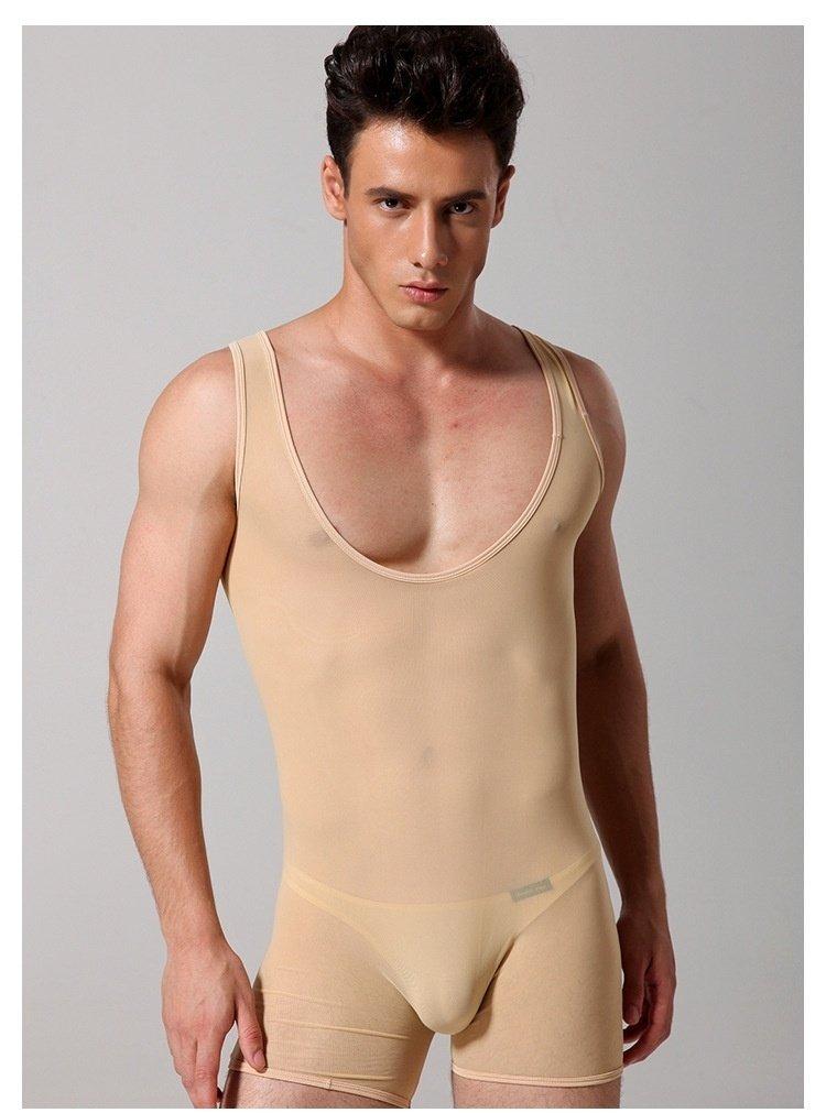 #661 Howeray men's sexy underwear lingerie mesh transparent bodysuits lounge sleep wear onesie