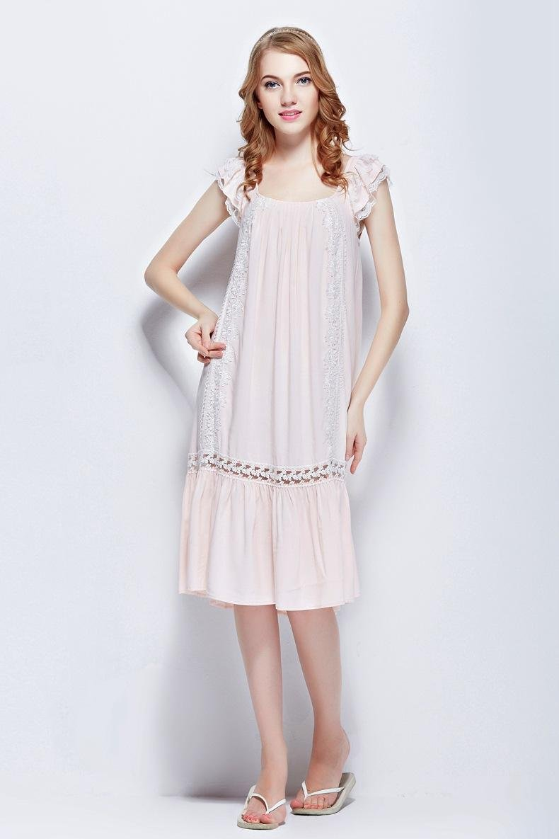 Pink 100% cotton women's clothing sexy lace sleeveless sleepwear nightgowns