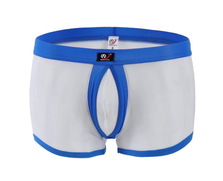 #1003PJ-6 Blue Men's sexy underwear mesh transparent gauze rings boxer shorts