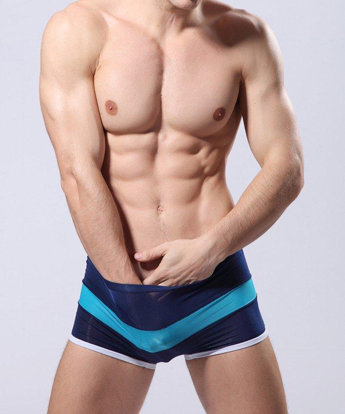 Navy blue 3pcs Men's sexy underwear sheer boxer briefs underpants #B010