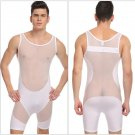 #320 White Men's clothing breathable ultra-thin stitching sexy bottom bodysuit wrestling singlet