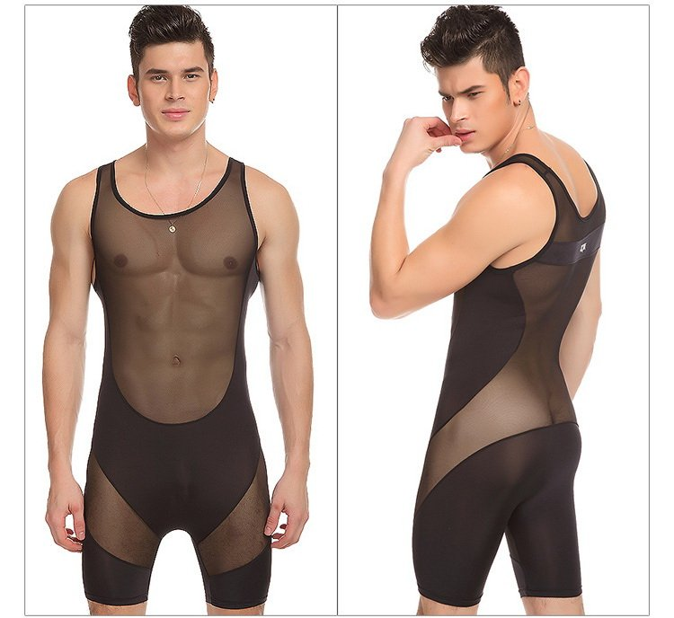 #320 Black Men's clothing breathable ultra-thin stitching sexy bottom bodysuit wrestling singlet