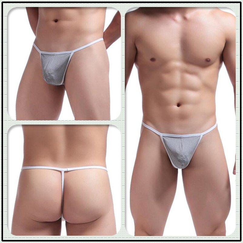 #C045 Gray 2pcs/lot Ciokicx sexy gay men's underwear cotton low rise thongs t-strings g-strings