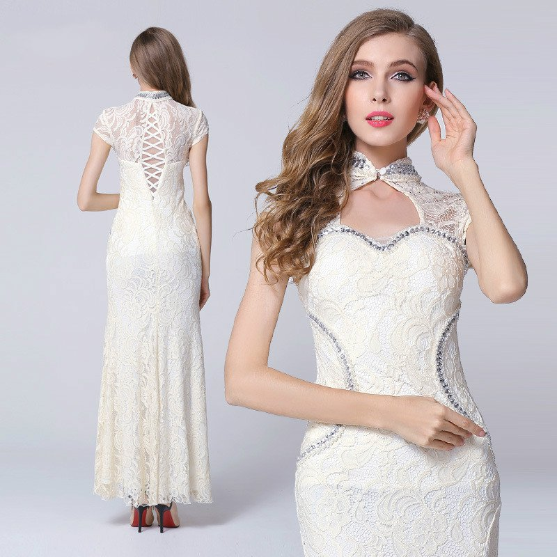 #1562 Women's fashion lace sexy evening dress banquet auto show wedding dress split maxi prom dress