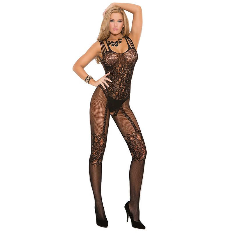 #H3108 Women's sexy lingerie plus size crotchless fishnet mesh transparent body stocking