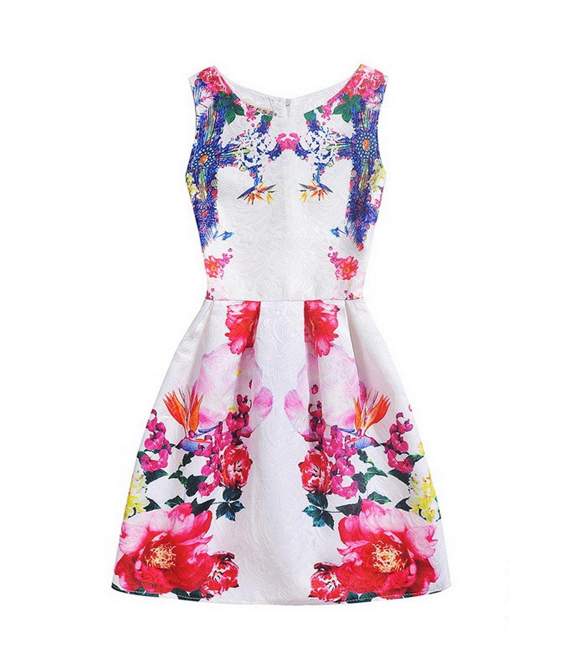 #B6026 Women's floral printing princess dresses