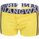 #5006PJ Yellow Men's underwear cotton U bag pouch low rise buttons opening underpants boxer briefs