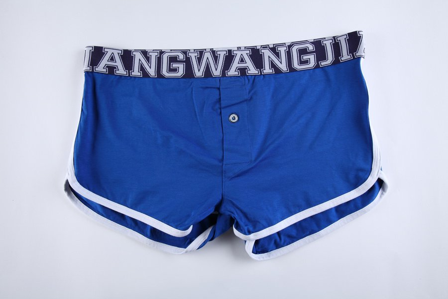#5006DK Royal blue Wangjiang men's underwear cotton pouch button opening underpants boxer briefs