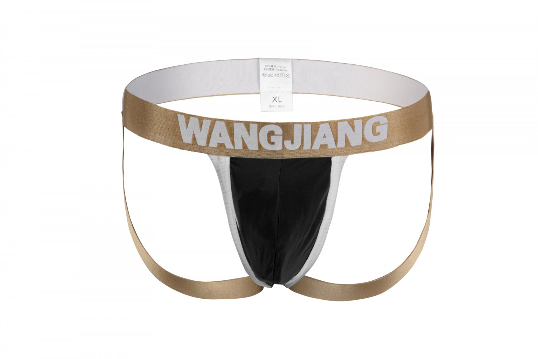 #5008SD Black Wangjiang brand Gay Men's sexy underwear U bag pouch double thongs g-string t-strings