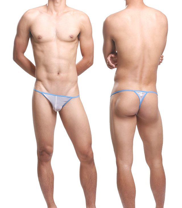 #11006 White Uzhot one size sexy men underwear mesh transparent U bag thongs t-strings g-strings