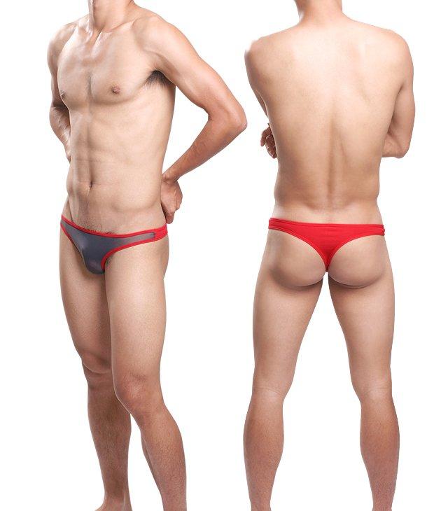 #11007 Gray 3pcs sexy men underwear Uzhot mesh transparent thongs t-string cuecas