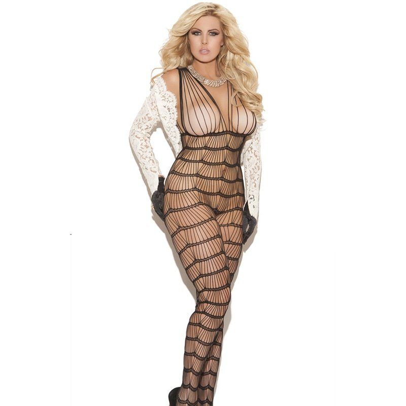 #H3002 Women's sexy lingerie stripes mesh crotchless fishnets body stockings