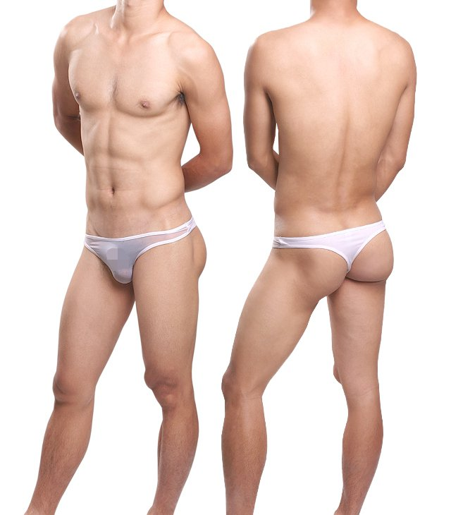 #11007 White 3pcs sexy men's underwear Uzhot mesh transparent thongs t-string cuecas