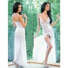 #4123 Sexy women's exotic lingerie white mesh transparent baby dolls chemise set