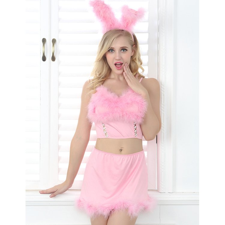 #2046 Women's sexy lingerie pink bunny girl costumes