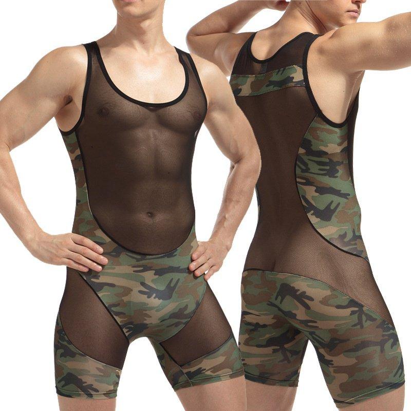 #M436 Men's sexy underwear camouflage wrestling singlet mesh stitching bodysuit one-piece siamese