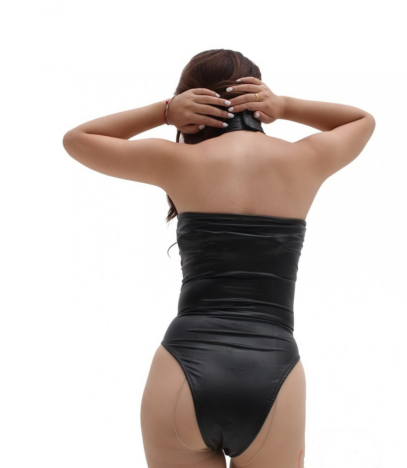Customized women's Sexy lingerie halter backless one piece Latex ammonia body shapers bodysuit #M83