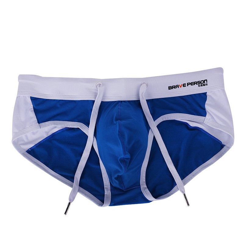 Blue Men's summer drawstring swimming briefs beachwear swimwear #BR1135