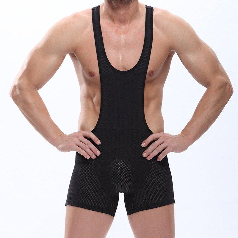 Black Men's mesh perforated bodysuit wrestling singlet underwear #LT2