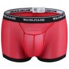 Red Men's sexy underwear mesh guaze boxer briefs underpants #5001PJ