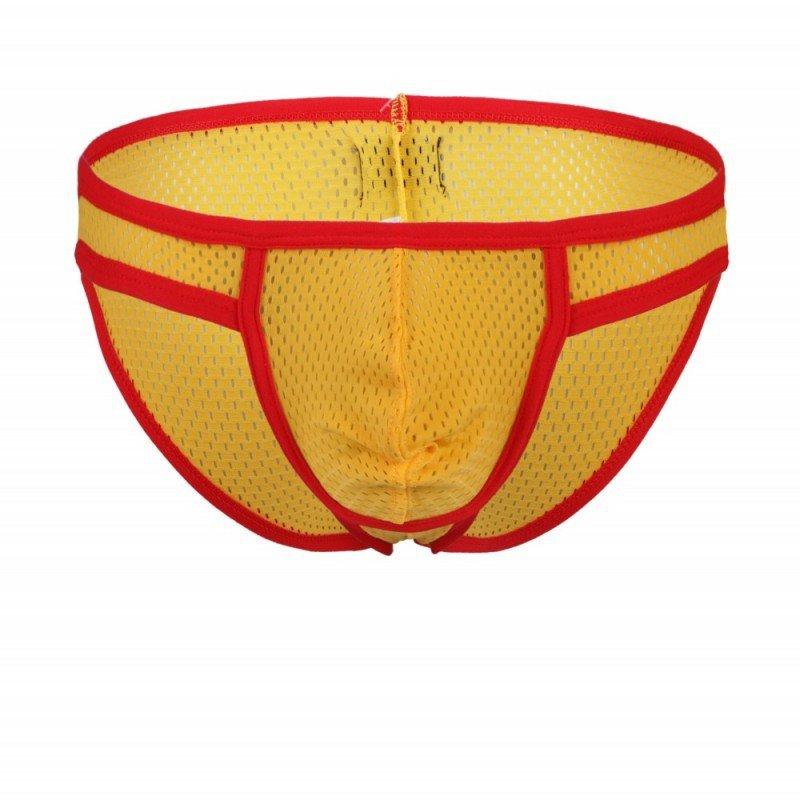 Yellow 3pcs Men's sexy underwear mesh perfortated briefs #1001SJ