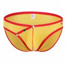 Yellow 3pcs men's sexy underwear buckles mesh holes briefs #4003SJ
