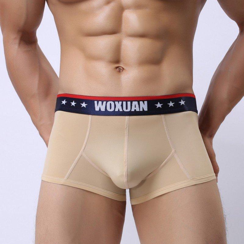 Beige 3pcs sexy men's underwear ice silk see-through boxer briefs #012PJ