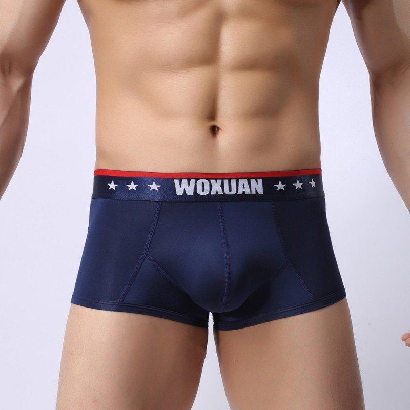 Royal Blue 3pcs sexy men's underwear ice silk see-through boxer briefs #012PJ