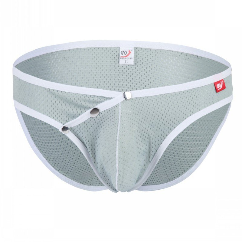 Gray 3pcs men's sexy underwear buckles mesh holes briefs #4003SJ
