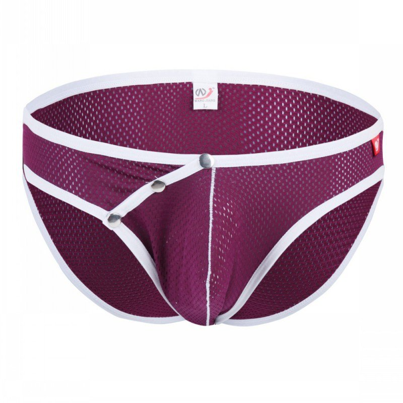 Purple 3pcs men's sexy underwear buckles mesh holes briefs #4003SJ